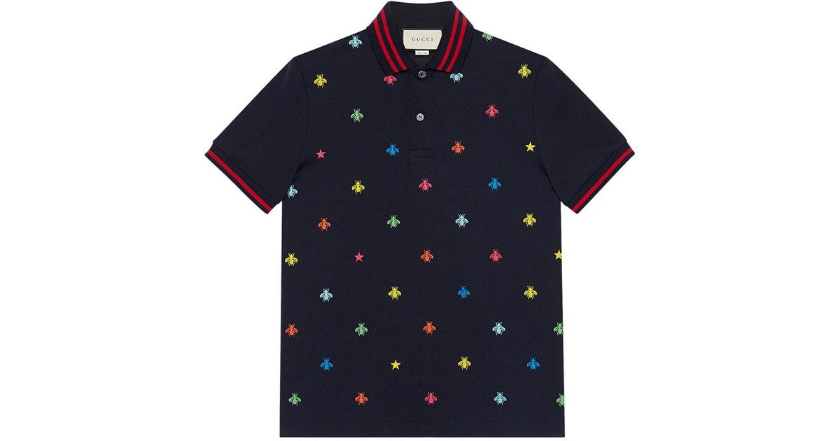 87f9158bc Gucci Cotton Polo With Bees And Stars in Blue for Men - Lyst