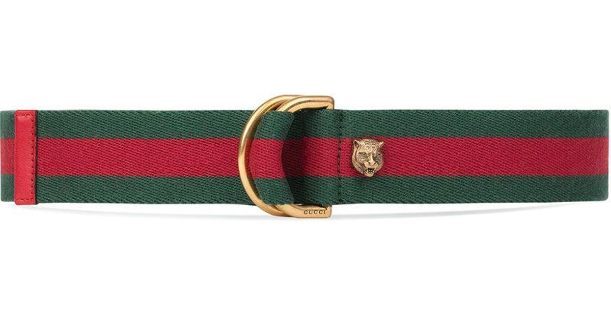584548357 Gucci Web Belt With D-ring in Red - Lyst