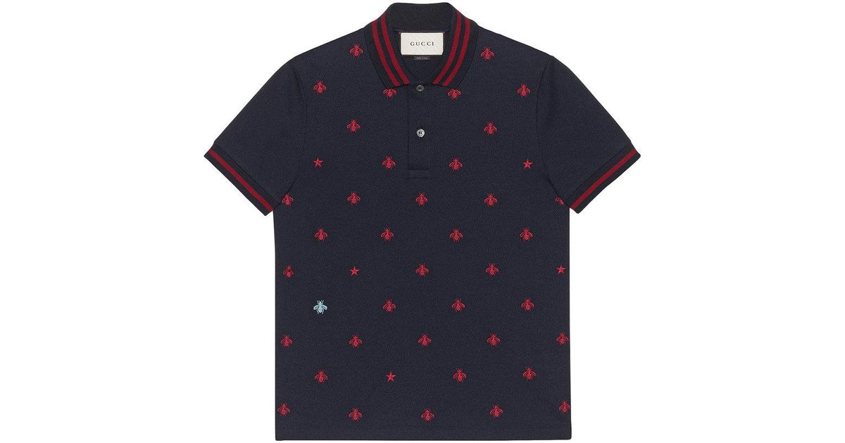 4b59b34a5 Gucci Cotton Polo With Bees And Stars in Blue for Men - Save 17% - Lyst