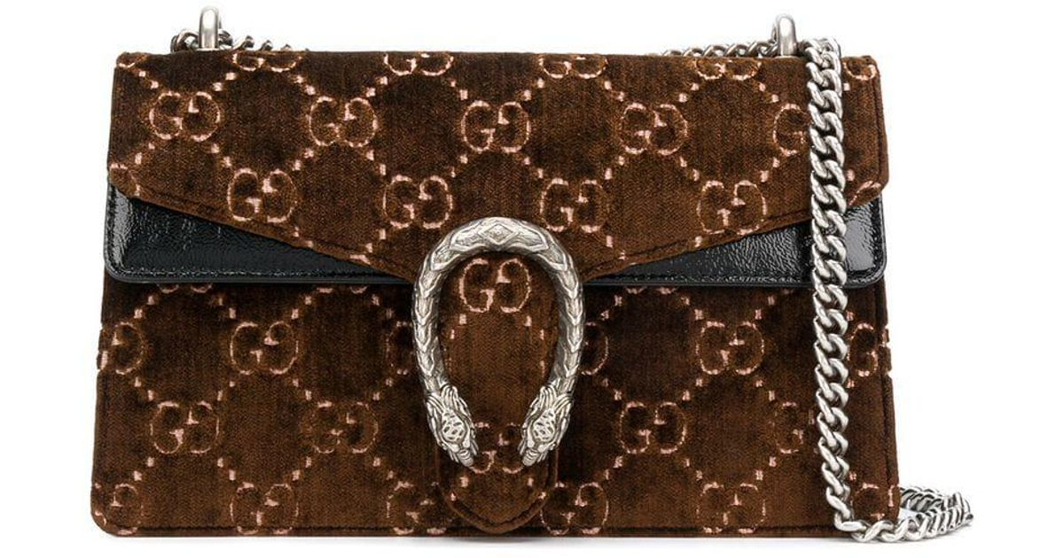 484b053fc3f Gucci Dionysus GG Velvet Small Shoulder Bag in Brown - Save 1% - Lyst