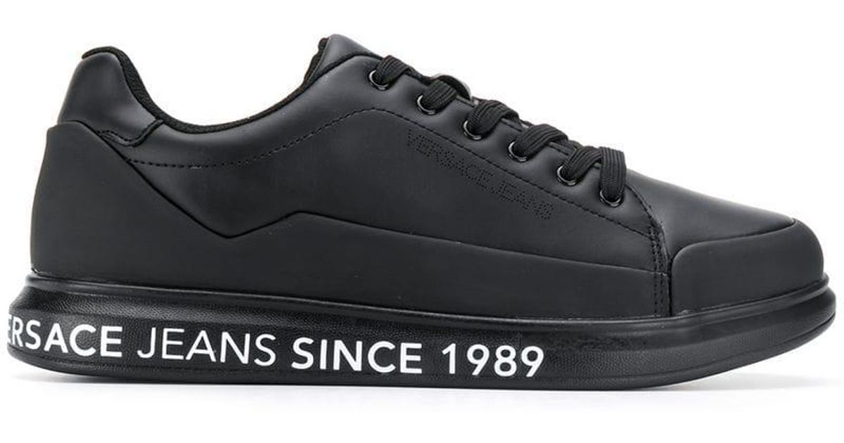 Versace Jeans Black Printed Sole Sneakers for men