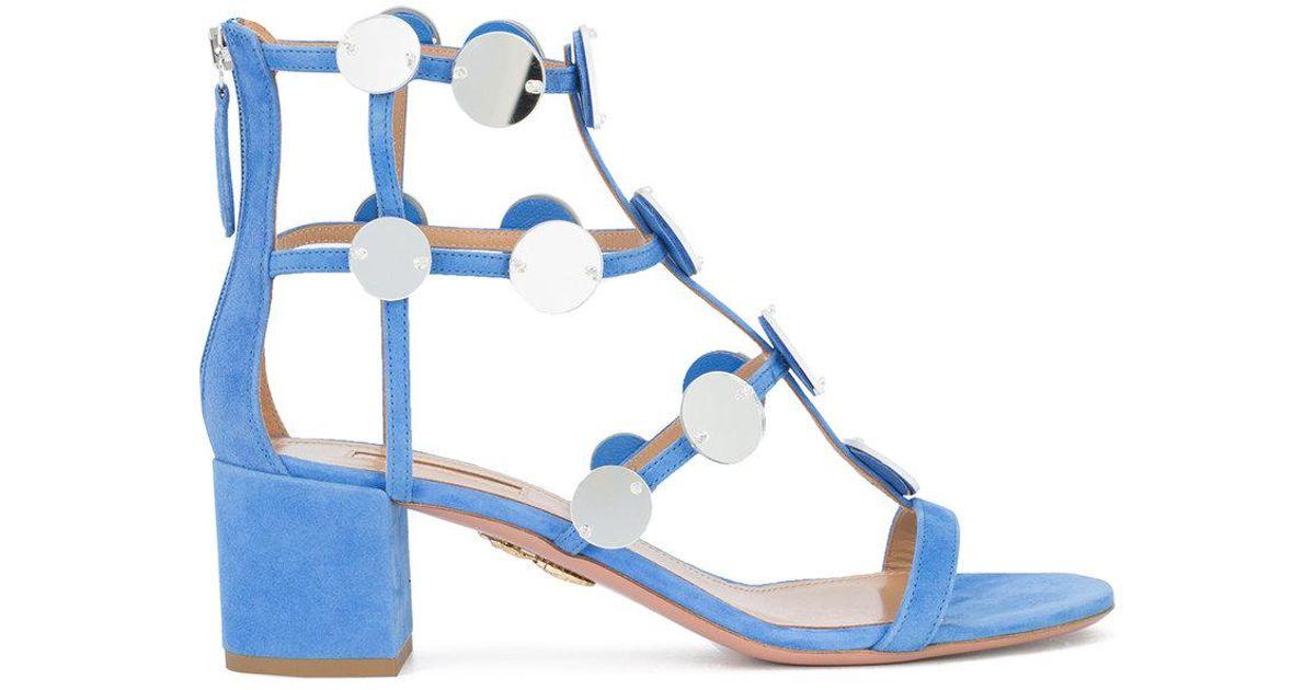 disc embellished gladiator sandal - Blue Aquazzura oDtv6tb