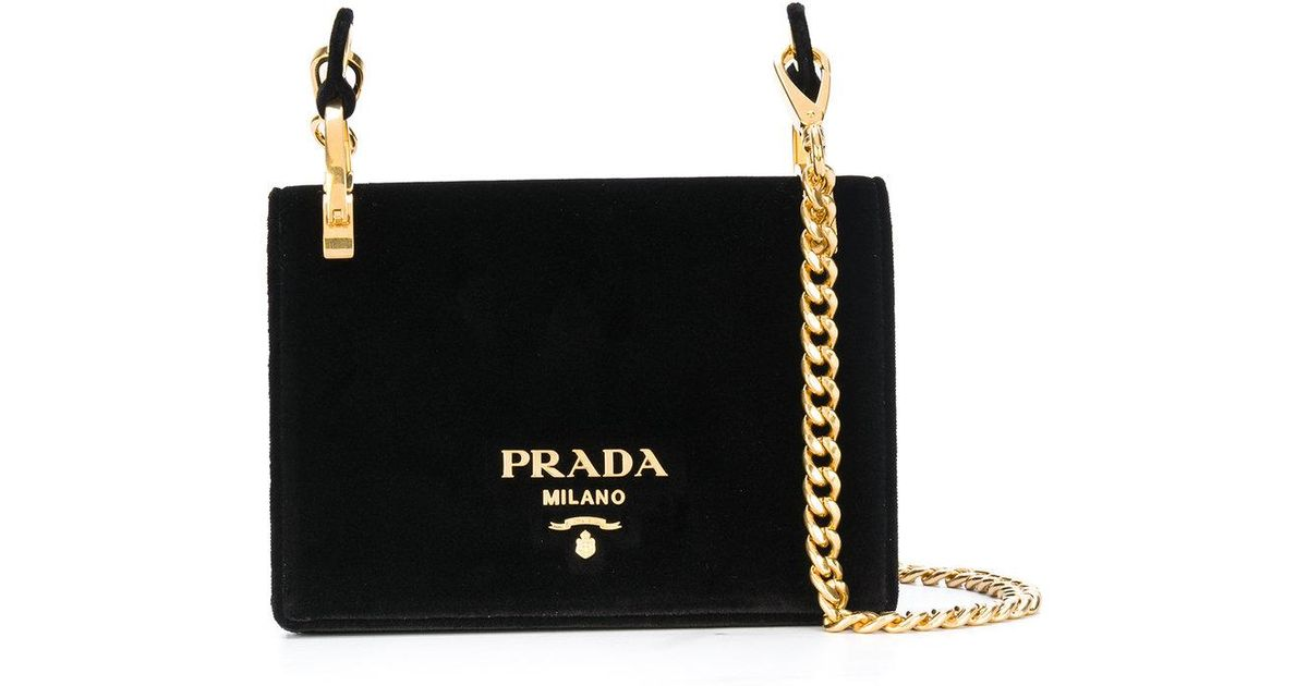 e7fa39c1753 Prada Black Velvet Pattina Bag With Gold Chain