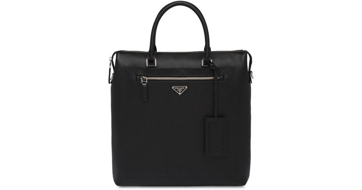 fee18b96a0a5 Prada Saffiano Leather Briefcase in Black for Men - Lyst