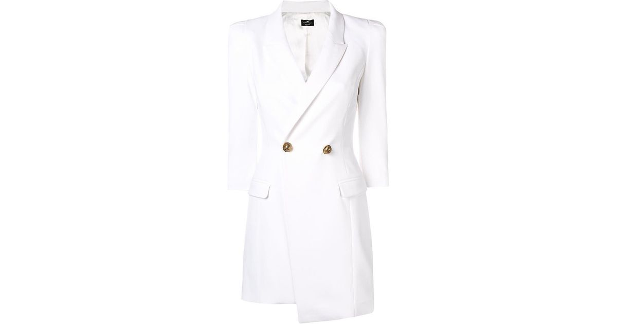 ae8e7dfe82544 Elisabetta Franchi Double Breasted Jacket Dress in White - Lyst