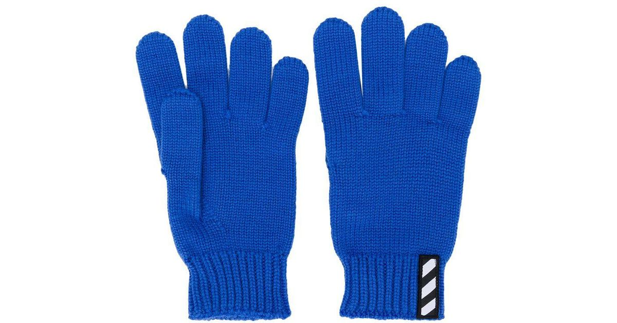 474985bf621 Lyst - Off-White c o Virgil Abloh Logo Patch Gloves in Blue for Men
