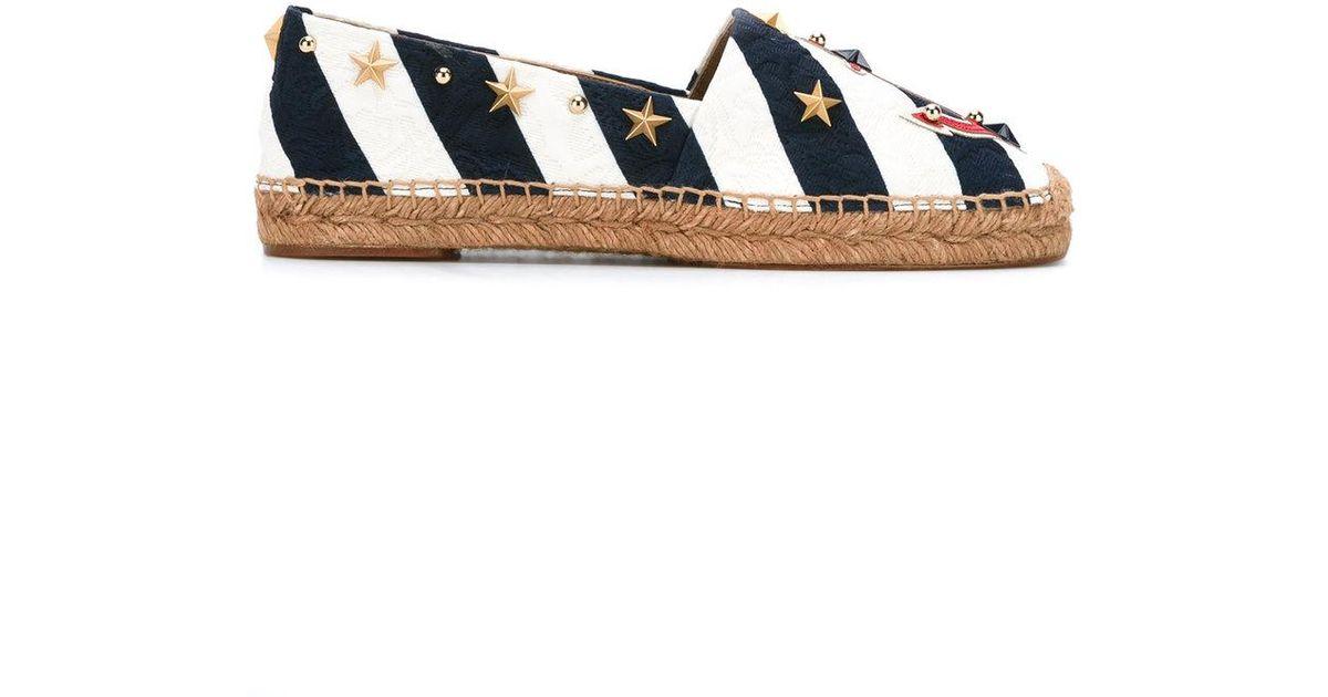 7fa14678b Dolce & Gabbana Anchor Striped Espadrilles in Blue - Lyst