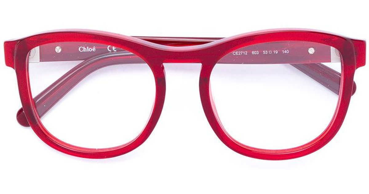 Lyst - Chloé Acetate Round Framed Glasses in Red