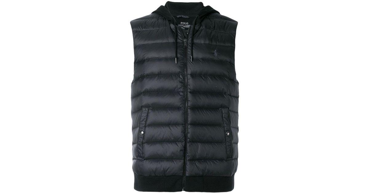 lyst polo ralph lauren padded hooded gilet in black for men. Black Bedroom Furniture Sets. Home Design Ideas