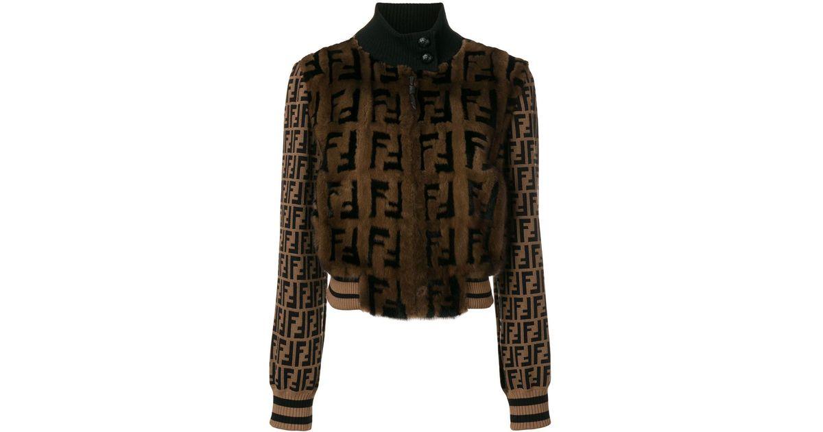 945a5c64 Fendi Brown Ff Logo Fur Bomber Jacket