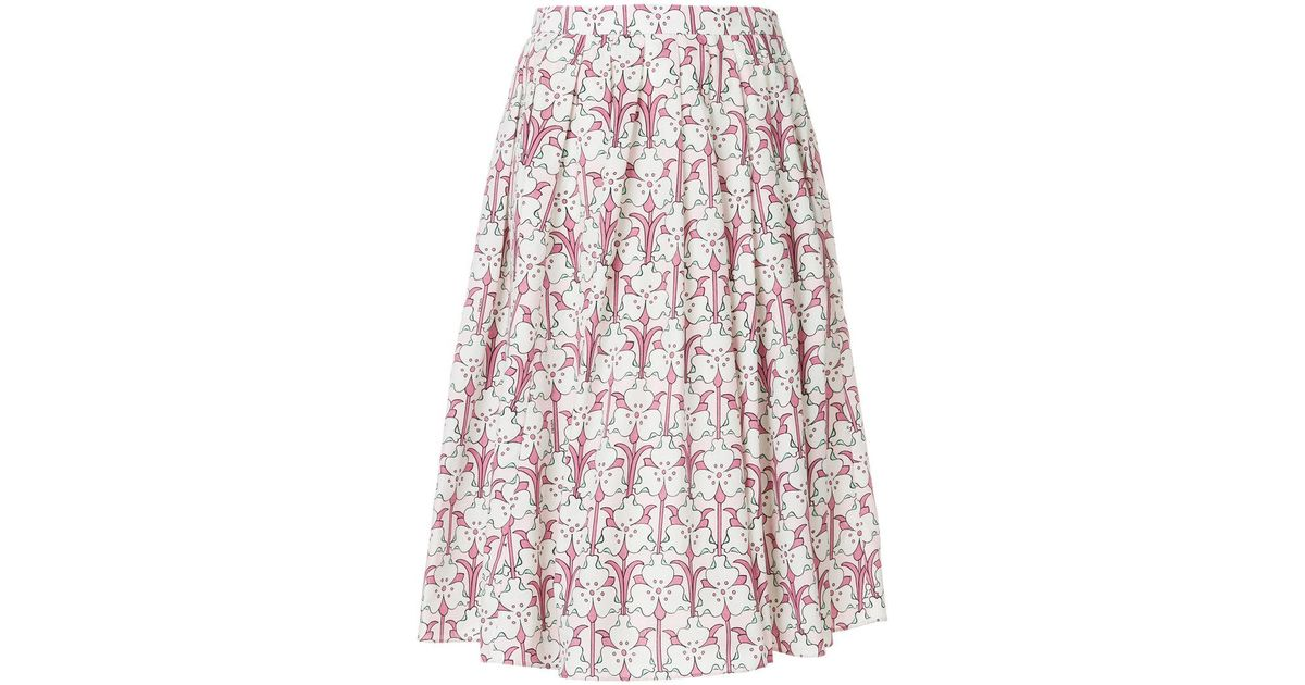 44f00716e6 Prada Pleated Floral-print Midi Skirt in Pink - Lyst