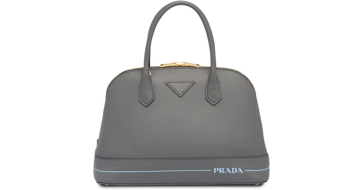 821b9737c67c Prada Mirage Large Leather Bag in Gray - Lyst