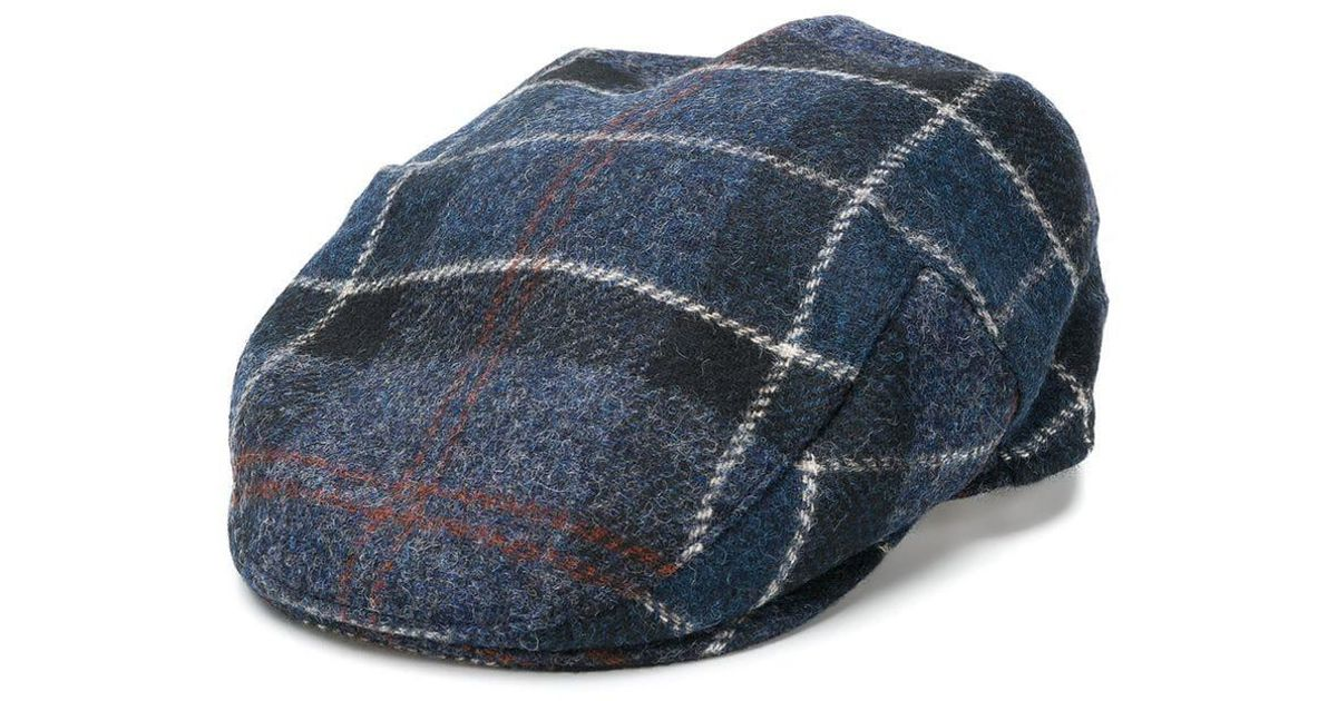 2e30f78b50e Barbour Checked Flat Cap in Blue for Men - Save 2.898550724637687% - Lyst