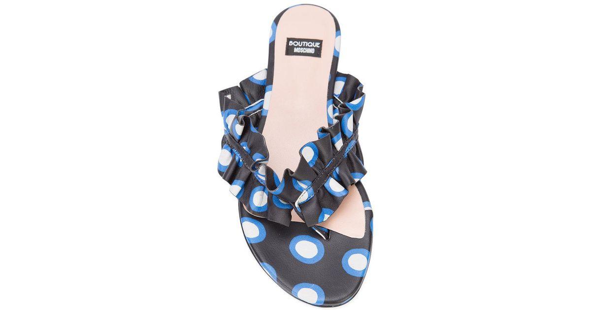 Boutique Moschino À Pois Ébouriffé Sandales String - Bleu wgBLG8p