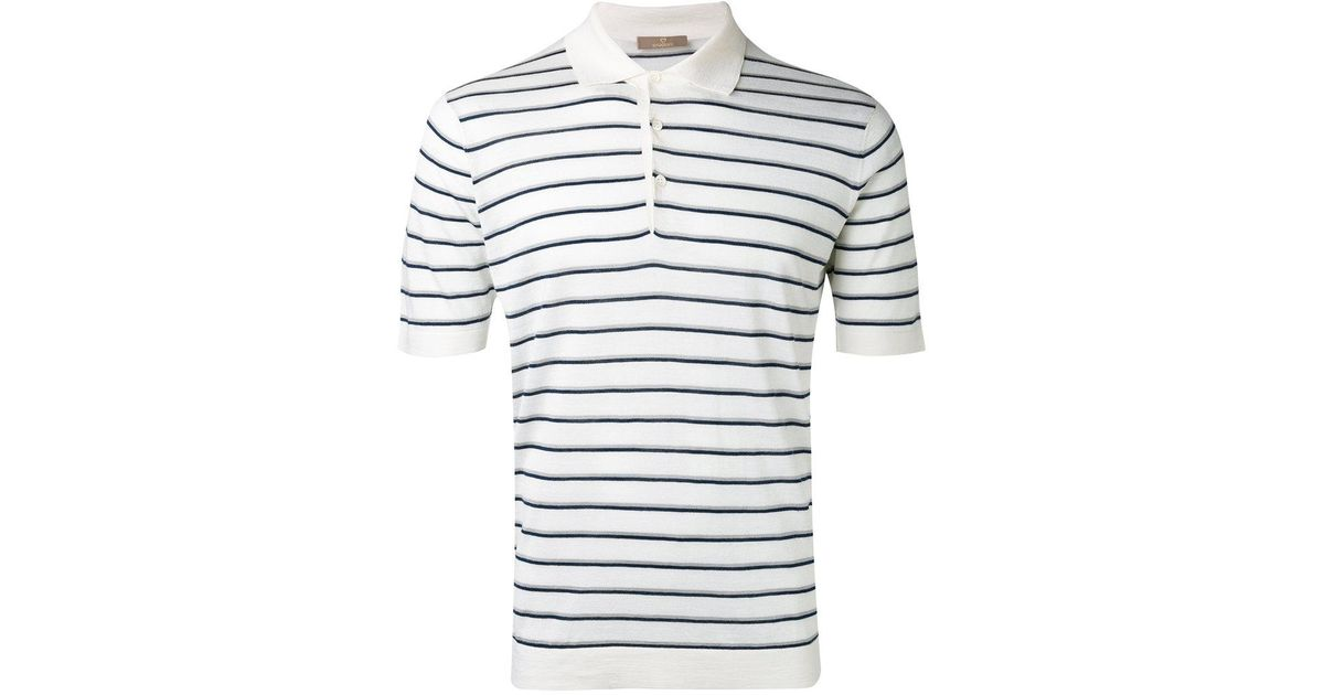 the best attitude 55348 8e22d Cruciani White Striped Polo Shirt for men