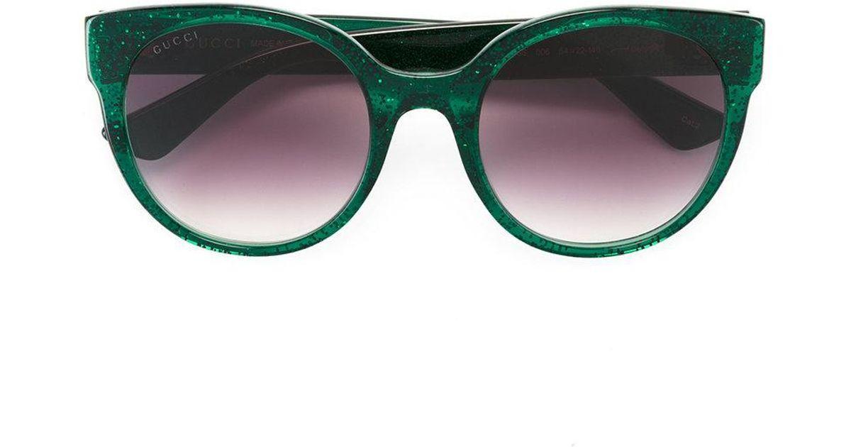 313d5e63364 Gucci Round Frame Glitter Sunglasses in Green - Lyst