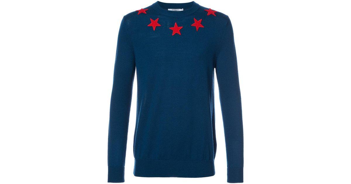 Lyst - Givenchy Star Appliqué Jumper in Blue for Men dc423f4ba