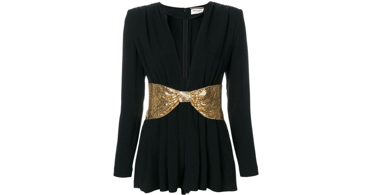 a99fb27b781 Lyst - Saint Laurent V-neck Belted Playsuit in Black