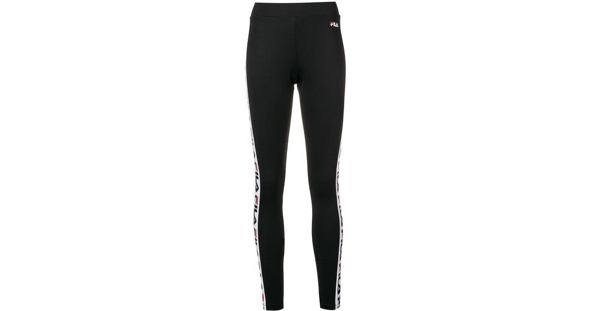 a72dd6b96f75d Fila Logo Side Stripe leggings in Black - Lyst