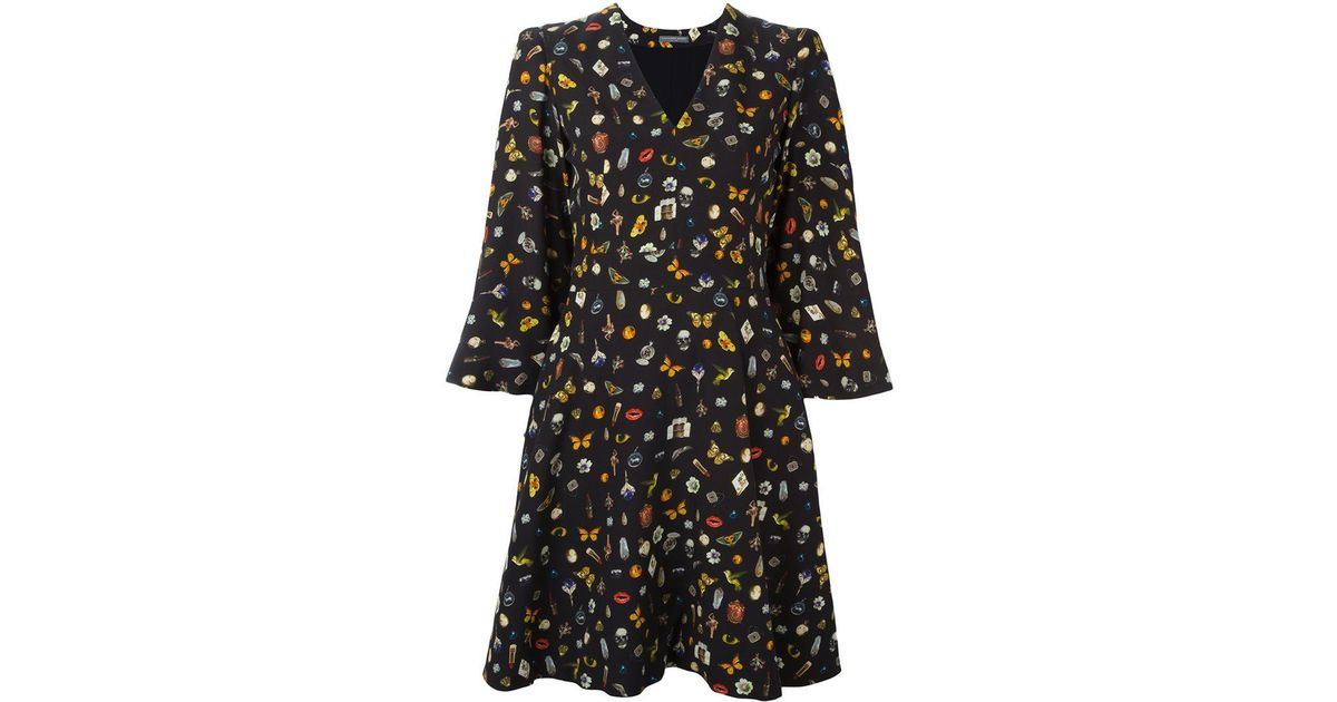 Obsession print cape dress - Black Alexander McQueen V9It8I