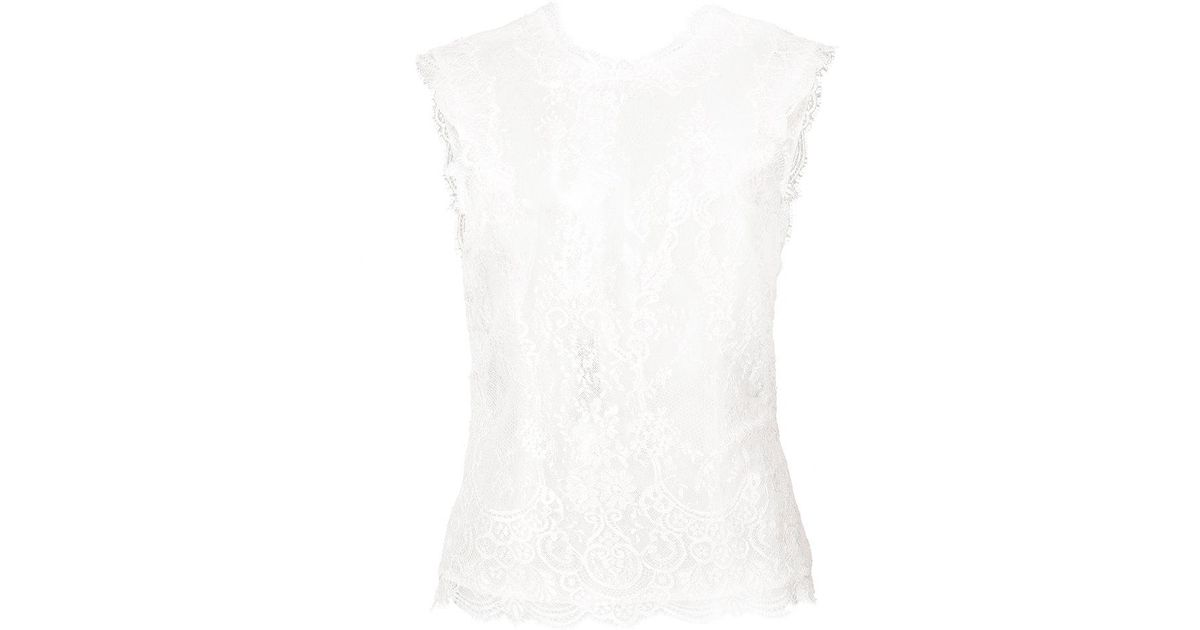 sheer lace detail sleeveless top - Pink & Purple Monique Lhuillier