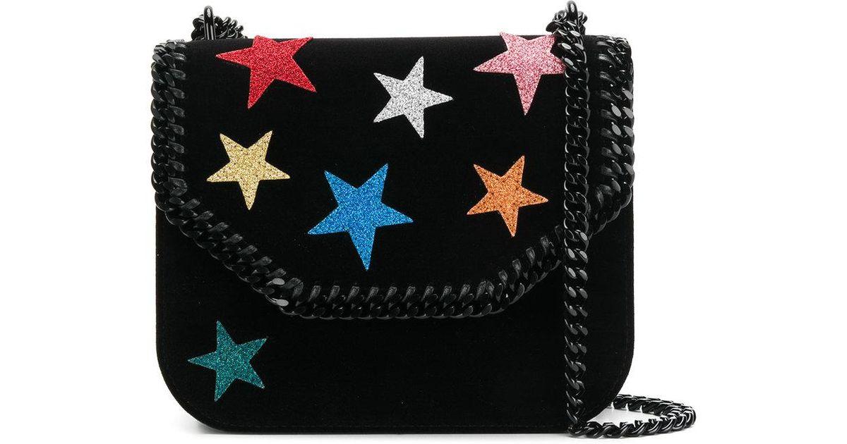 f39c22f428 Stella McCartney Falabella Box Stars Shoulder Bag in Black - Lyst