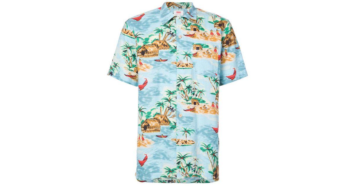ede1c32b Levi's Pelican Cameo Hawaiian Shirt in Blue for Men - Lyst