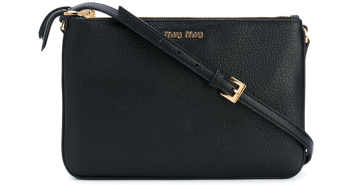 Lyst - Miu Miu Double Zip Crossbody Bag in Black