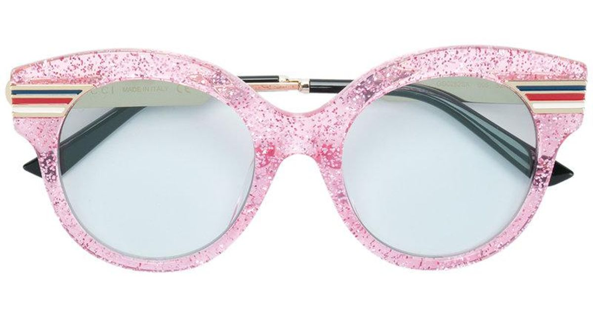 32c6fde43d92f Gucci Glitter Cat Eye Oversized Sunglasses in Pink - Lyst