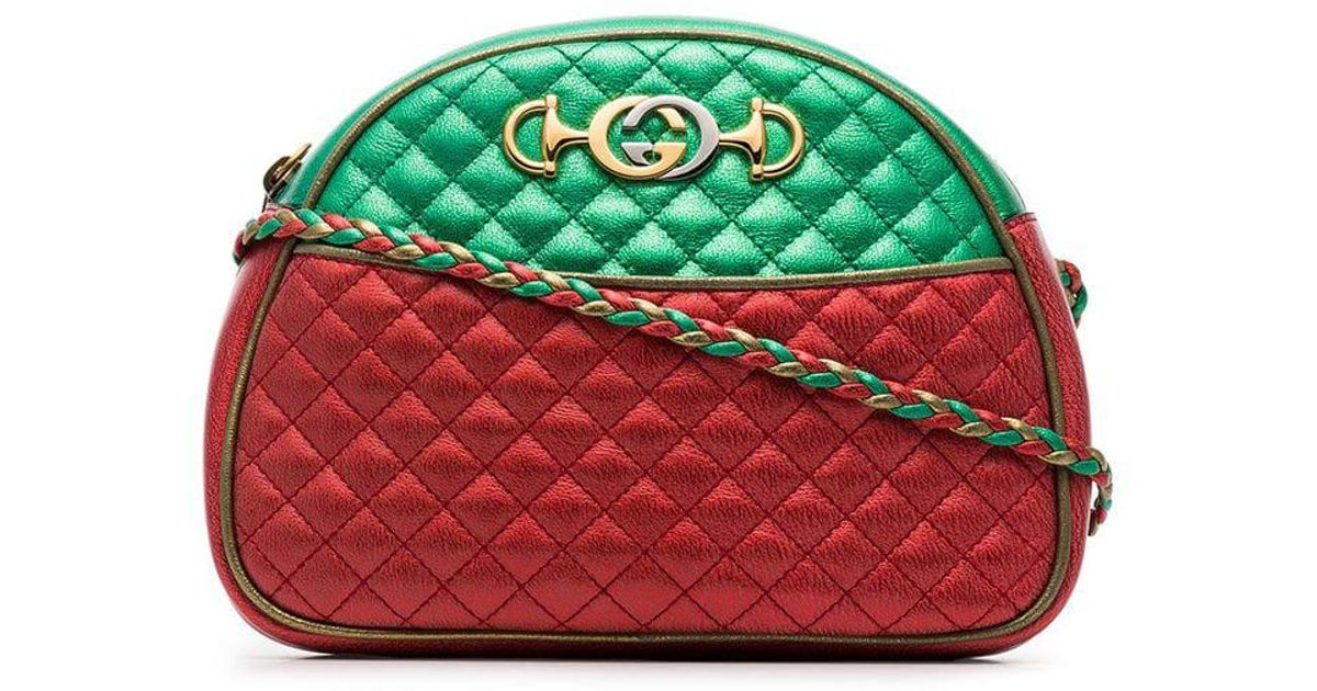 9a4e88af3dcc Lyst - Gucci Red And Green Trapuntata Quilted Metallic Leather Cross Body  Bag in Metallic