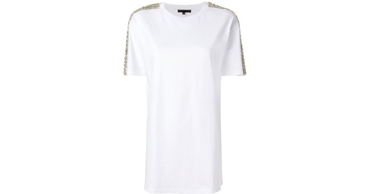 con piedras preciosas Camiseta de de Blanco manga Amen adornos corta tYf4ZqS