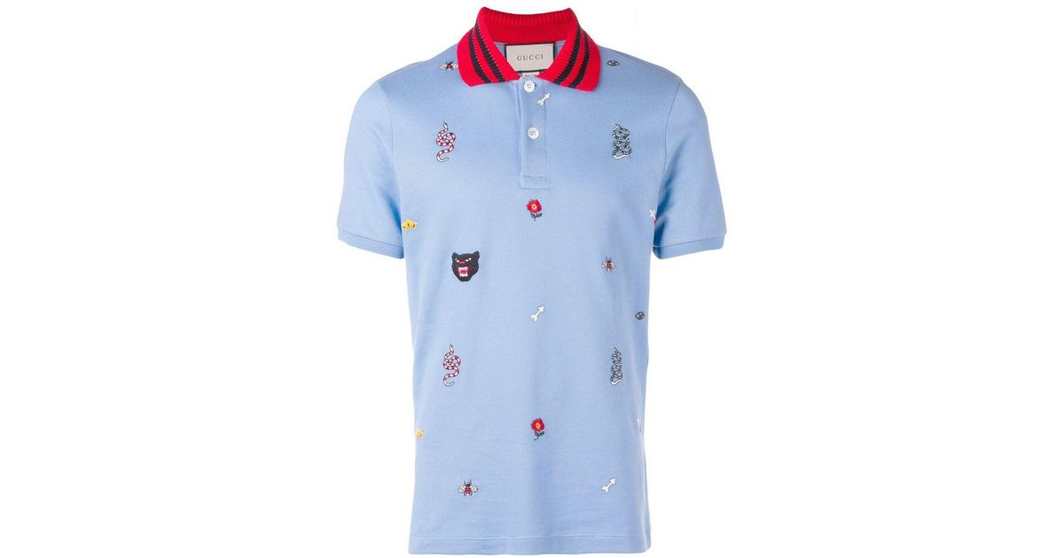 cf95e430 Gucci Patched Motifs Polo Shirt in Blue for Men - Lyst