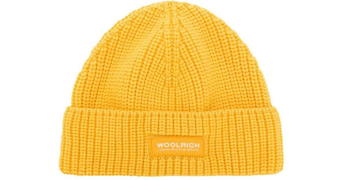 Woolrich Logo Beanie Hat in Yellow - Lyst d9f41986c4d