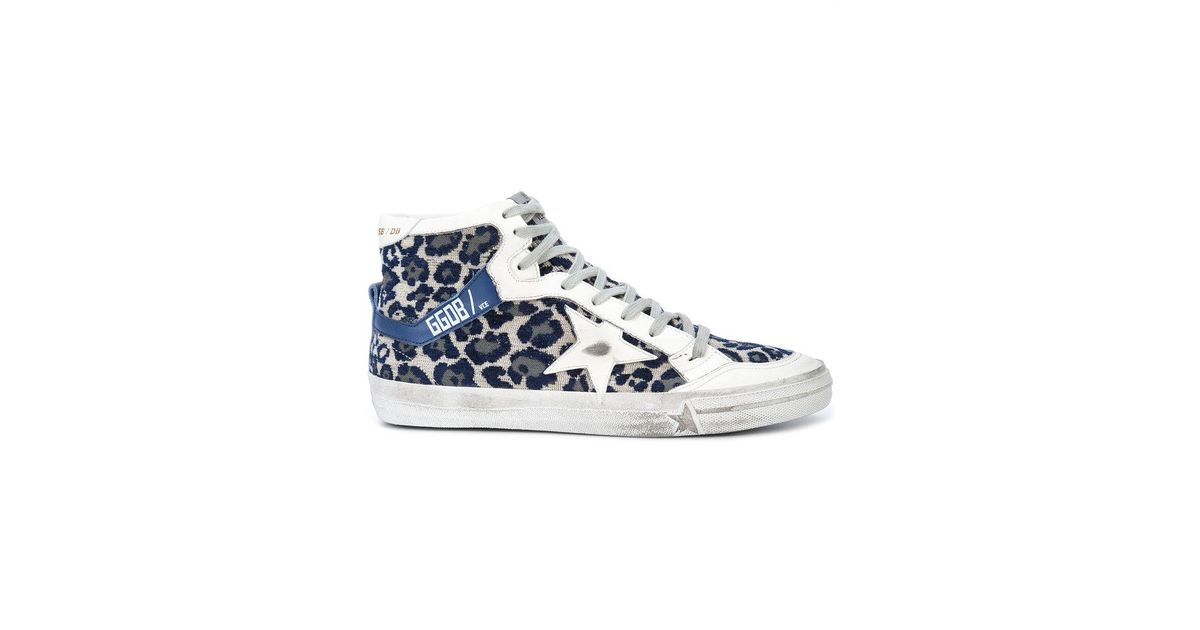 6e72b094ab39e Golden Goose Deluxe Brand Superstar Hi-top Distressed Sneakers in Blue -  Lyst