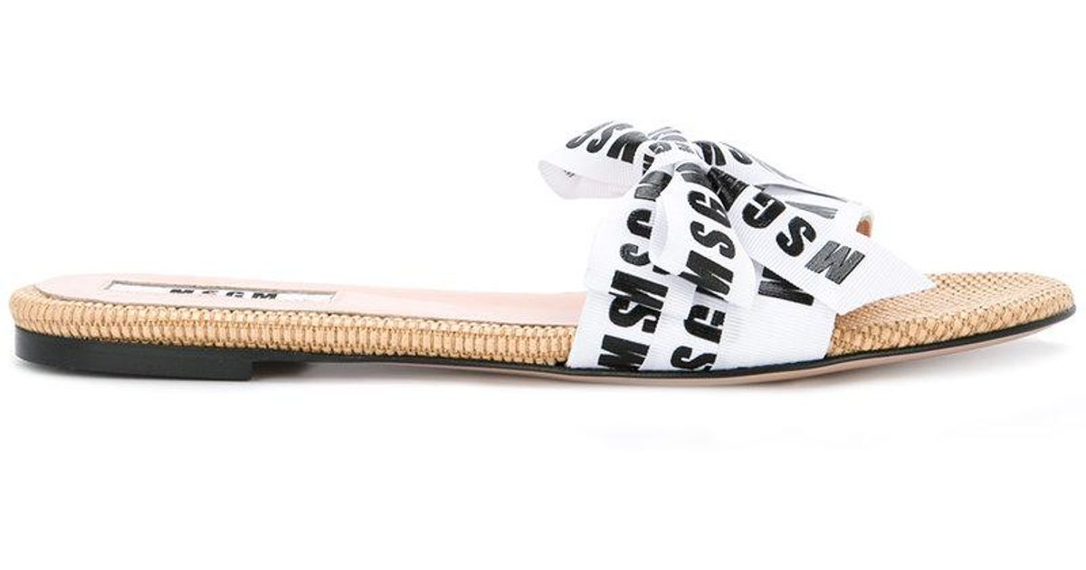MSGM Leather Branded Sandals in White