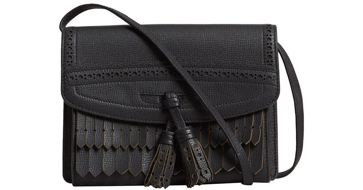 c1aa57243859 Lyst - Burberry Brogue And Fringe Detail Crossbody Bag in Black