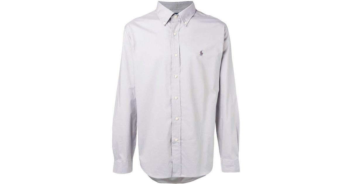 5ede2a541 Polo Ralph Lauren Logo Button-down Shirt in Gray for Men - Lyst