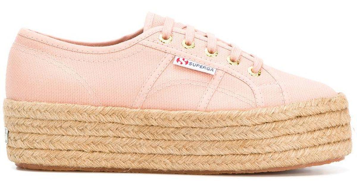 Superga Cotton Woven Platform Sneakers