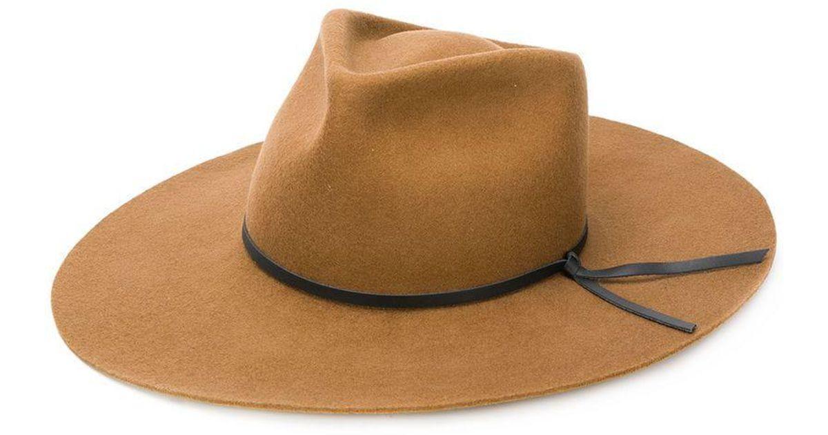 2b017455768c3 Lyst - Woolrich Trim Fedora Hat in Brown