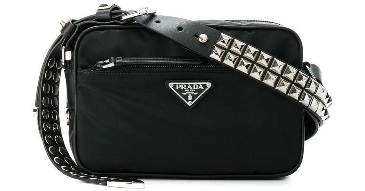 fa66faed0e1 Prada Black Studded Strap Textile Shoulder Bag in Black - Save 24% - Lyst