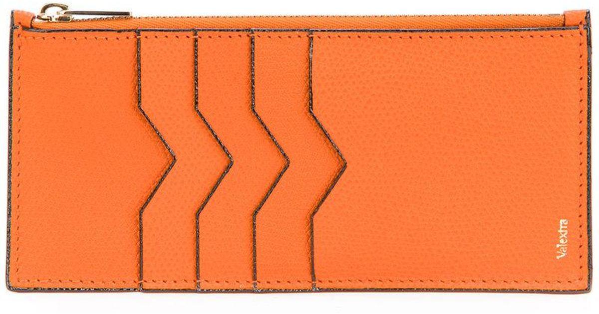 con cremallera para naranja Valextra y Cartera tarjeta y soporte Amarillo B4vywRqg