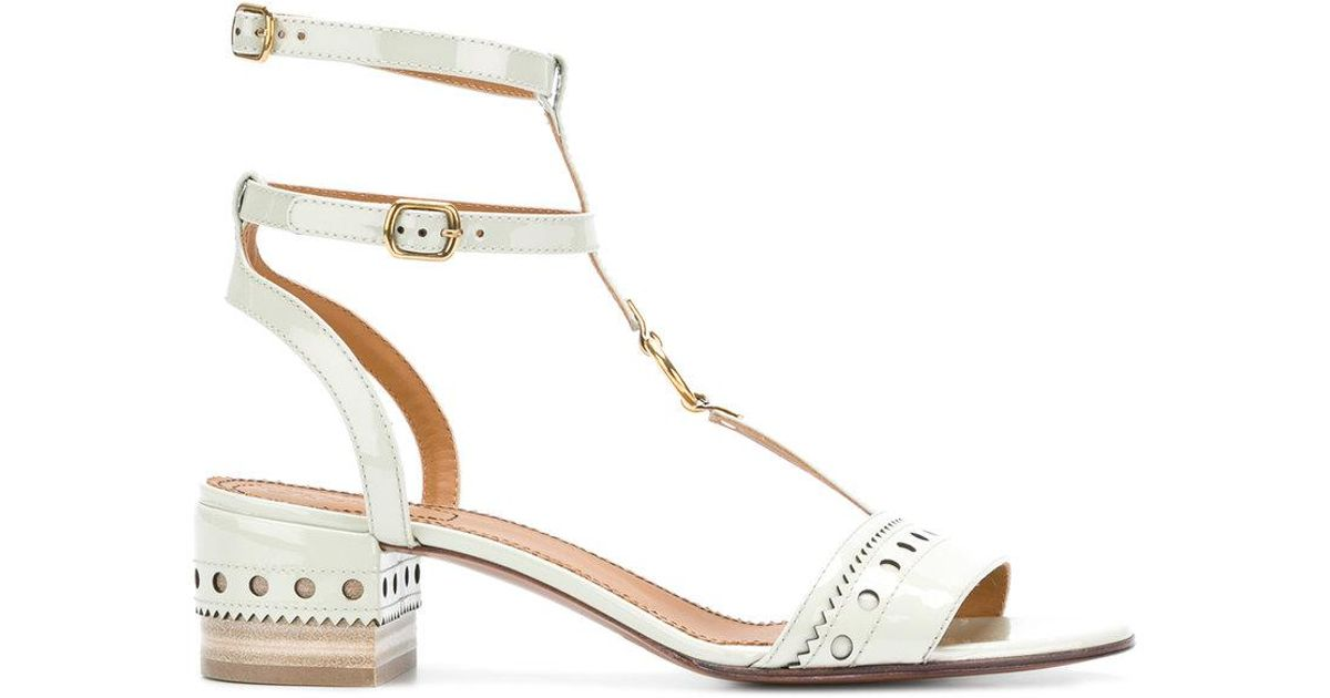 Chlo 233 Perry T Bar Sandals In Green Lyst