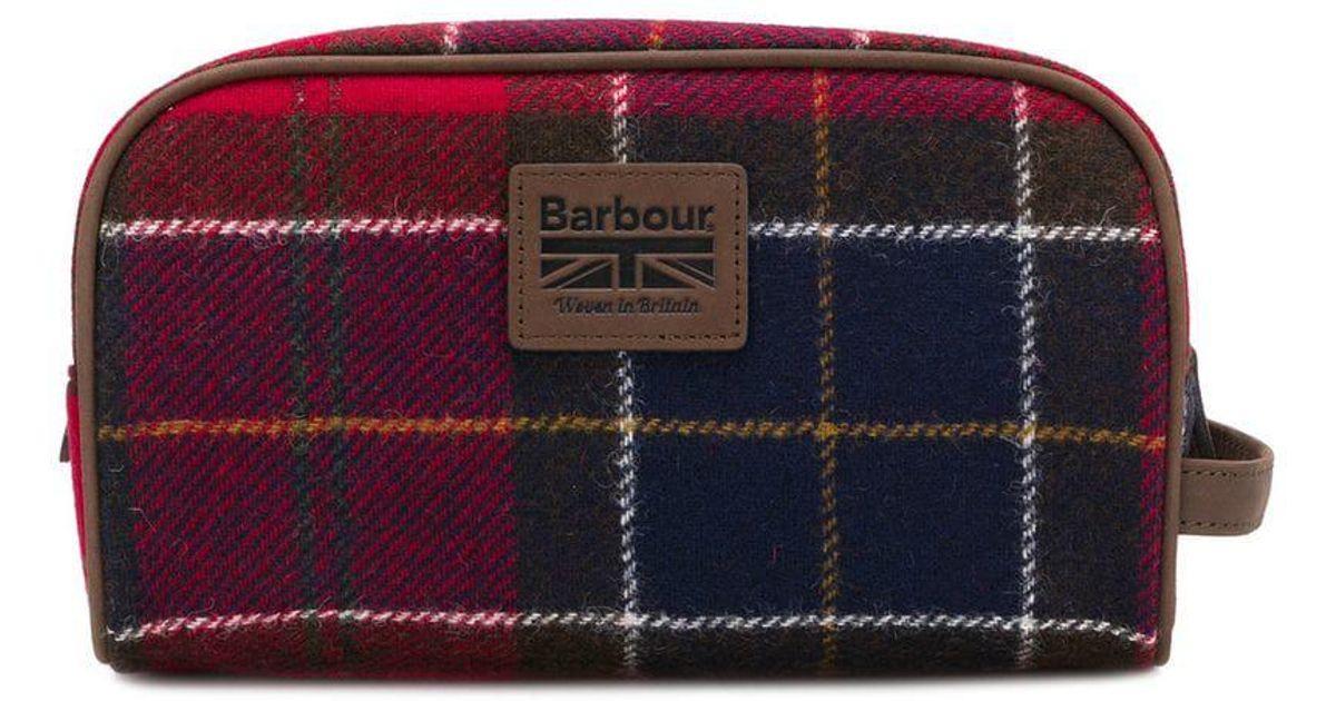 Barbour Tartan Wash Bag in Red for Men - Lyst 537f26fbdae91