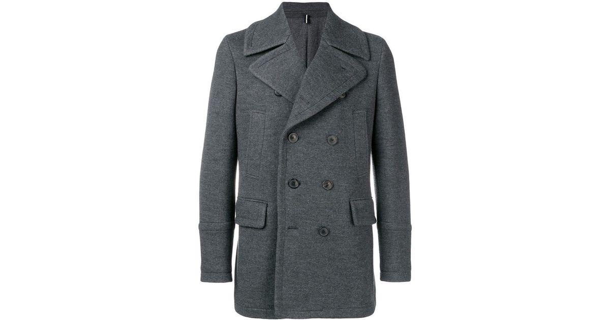 classcic arriving elegant and graceful Lardini Gray Tailored Peacoat for men