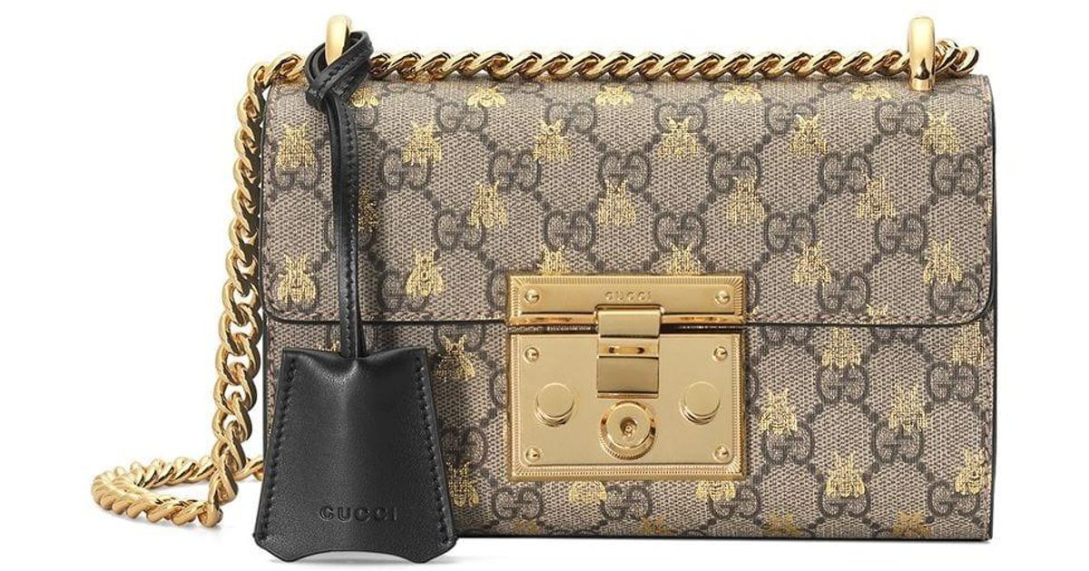 0cd6a548a7 Gucci Multicolor Gold GG Bees Padlock Small Shoulder Bag