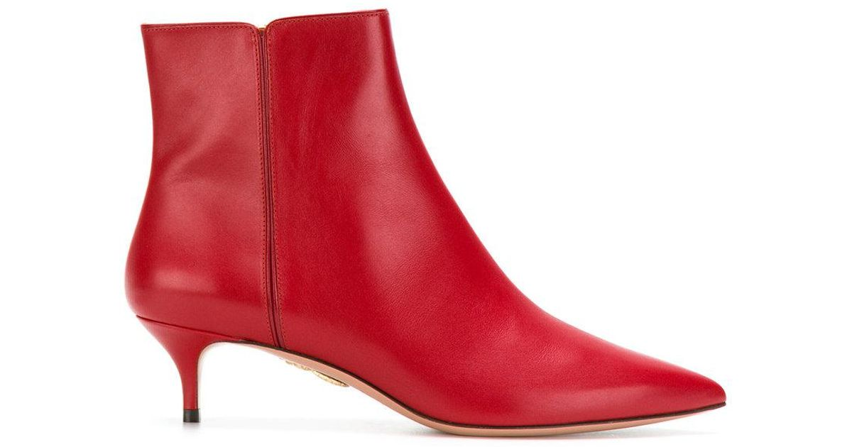 ad1a5d2e098 Aquazzura Quant Leather Ankle Boots in Red - Save 45% - Lyst