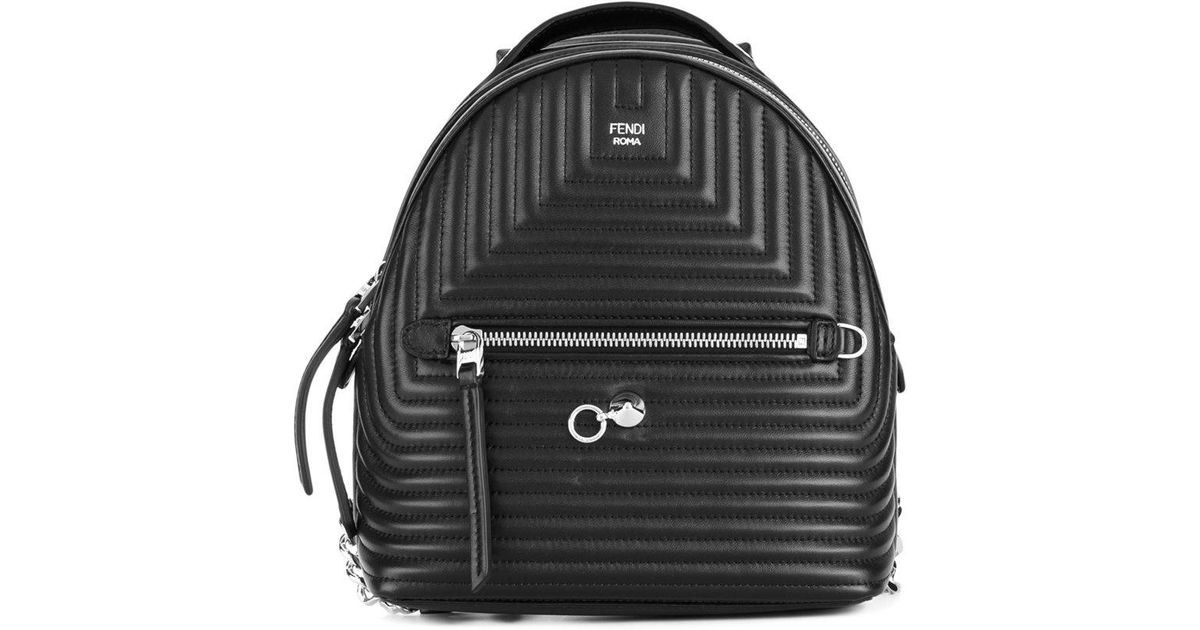 Lyst - Fendi Mini Quilted Backpack in Black b0e5f46b1988d