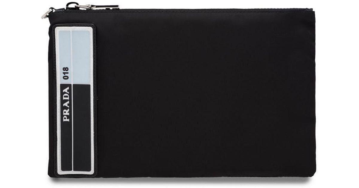 ba6fdedc7ac9 Lyst - Prada Nylon Pouch With Leather Trim in Black for Men