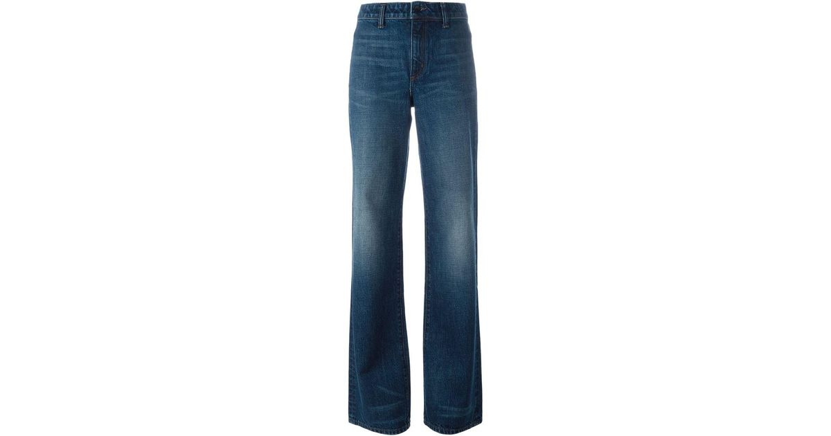 Helmut lang Bootcut Pocketless Jeans in Blue | Lyst