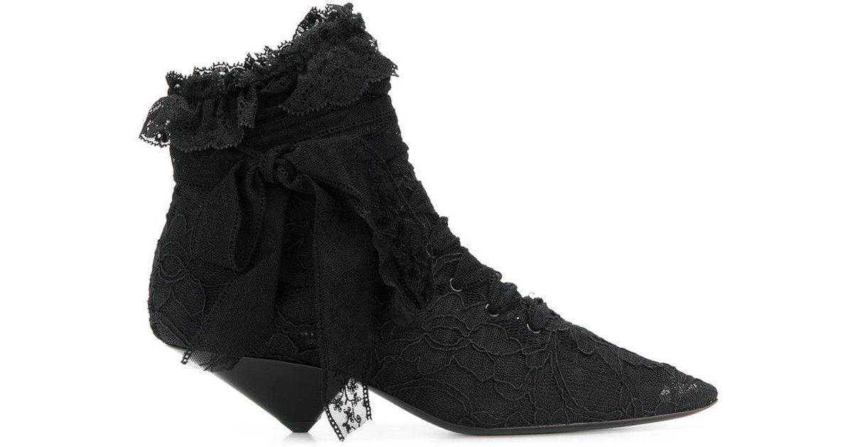 b9a7d1838bb Saint Laurent Blaze 45 Lace Ankle Boots in Black - Lyst